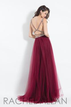 Style 6118 Rachel Allan Red Size 0 Pageant Burgundy Side slit Dress on Queenly