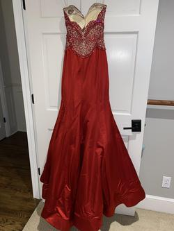Sherri Hill Red Size 4 Beaded Top Pageant Mermaid Dress on Queenly