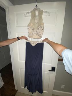 Alyce Paris Silver Size 4 Sorority Formal Beaded Top High Neck Straight Dress on Queenly