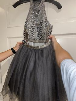 Rachel Allan Silver Size 4 Beaded Top Two Piece Homecoming Cocktail Dress on Queenly