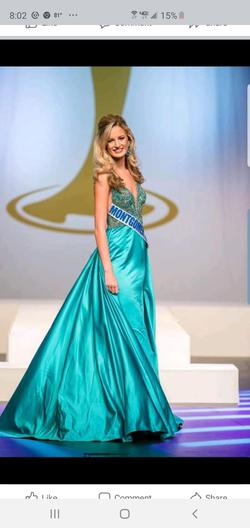 Sherri Hill  Green Size 0 Beaded Top Pageant Teal Train Dress on Queenly