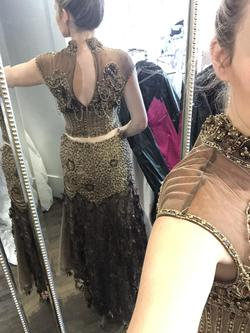 Mike Bennet Gold Size 2 Beaded Top Fun Fashion Sequin Mermaid Dress on Queenly