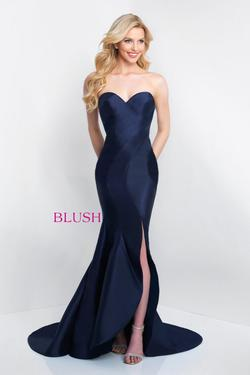 Style C1063 BLUSH PROM  Blue Size 0 Train Strapless Side slit Dress on Queenly