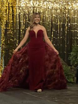Mac Duggal Red Size 6 Overskirt Burgundy Train Dress on Queenly