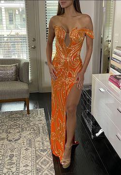 Custom Orange Size 0 Sequin Pageant Side slit Dress on Queenly