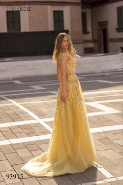 Tarik Ediz Yellow Size 4 Belt Cap Sleeve Train Dress on Queenly