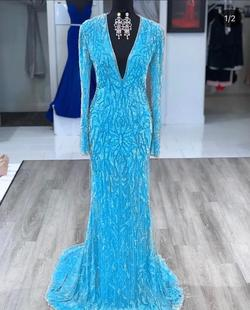 Sherri Hill Light Blue Size 6 Train Pageant Straight Dress on Queenly