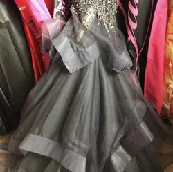 Jovani Silver Size 4 Tulle Two Piece Beaded Top Pageant Mermaid Dress on Queenly