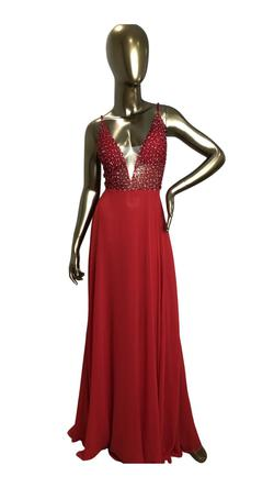 Jovani Red Size 6 Plunge Pageant A-line Side slit Dress on Queenly