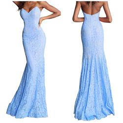 Jovani Light Blue Size 2 Strapless Sequin Mermaid Dress on Queenly