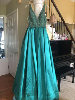 MacDuggal Green Size 6 Straight Overskirt Train Dress on Queenly
