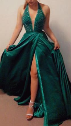 Sherri Hill Green Size 8 Emerald Prom Ball gown on Queenly
