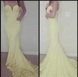 Jovani Yellow Size 4 Strapless Pageant Mermaid Dress on Queenly