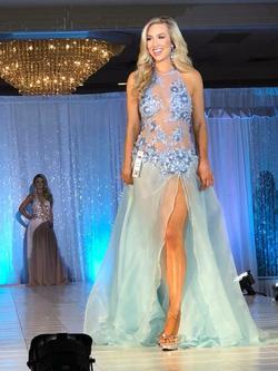 Fernando Wong Blue Size 4 Custom Pageant Side slit Dress on Queenly