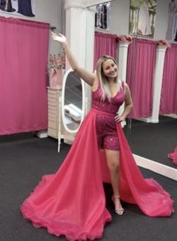 Ashley Lauren Hot Pink Size 8 Overskirt Train Dress on Queenly