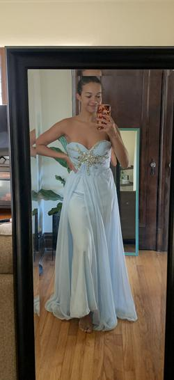 Sherri Hill Light Blue Size 4 Straight Dress on Queenly