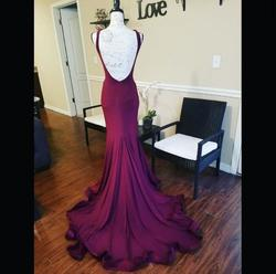 Jovani Red Size 6 V Neck Train Mermaid Dress on Queenly
