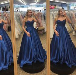 Style 52055 Sherri Hill Royal Blue Size 4 A-line Dress on Queenly