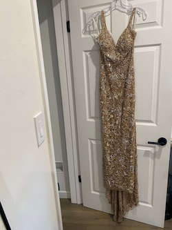 Style 54255 Sherri Hill Gold Size 2 Pageant Fitted Train Dress on Queenly