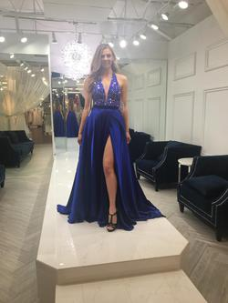 Sherri Hill Blue Size 4 Pageant Side slit Dress on Queenly
