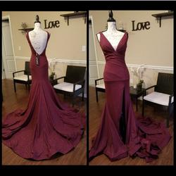 Jovani Red Size 8 Train Burgundy Mermaid Dress on Queenly