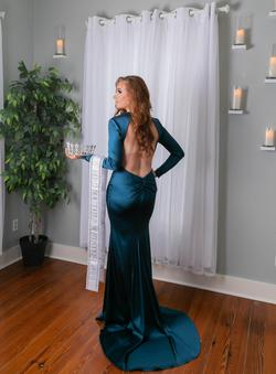 Sherri Hill Blue Size 4 Silk Train Straight Dress on Queenly