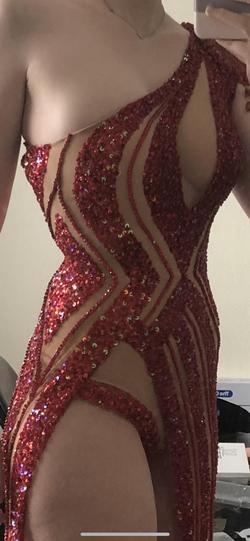 Leo Almodal Red Size 4 Train One Shoulder Showstopper Side slit Dress on Queenly