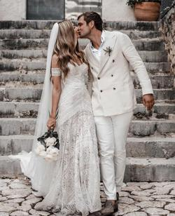Liposa White Size 8 Corset Wedding Mermaid Dress on Queenly