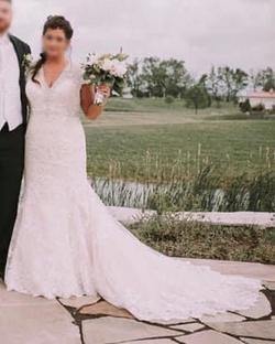 Allure Bridals White Size 20 Tall Height Lace Train Dress on Queenly