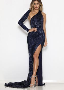Abbys by Abby Blue Size 2 Sequin Pageant Side slit Dress on Queenly