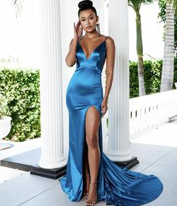 Abbys by Abby Blue Size 2 Side slit Dress on Queenly