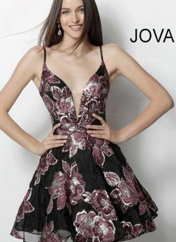 Jovani Multicolor Size 2 Tulle Plunge Spaghetti Strap Flare Cocktail Dress on Queenly