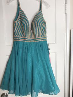 JVN by Jovani Green Size 10 V Neck Spaghetti Strap Flare Cocktail Dress on Queenly