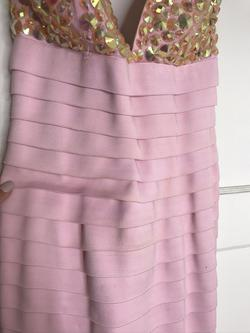 Sherri Hill Pink Size 4 Sorority Formal V Neck Fitted Cocktail Dress on Queenly