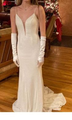 Always & Forever White Size 2 Spaghetti Strap Pageant Wedding Train Dress on Queenly