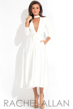 Style L1111 Rachel Allan White Size 4 Sleeves Tall Height Plunge Cocktail Dress on Queenly
