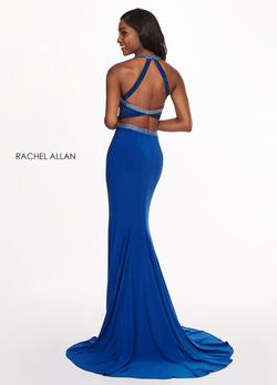Style 6444 Rachel Allan Blue Size 8 Fitted Tall Height Halter Mermaid Dress on Queenly