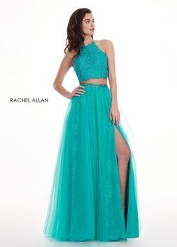 Style 6437 Rachel Allan Green Size 6 Prom Halter Wedding Guest Side slit Dress on Queenly