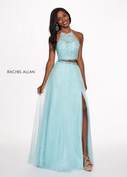 Style 6437 Rachel Allan Blue Size 10 Tall Height Tulle Halter Light Green Side slit Dress on Queenly