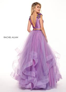Style 6412 Rachel Allan Purple Size 10 Ruffles V Neck Tall Height Tulle Ball gown on Queenly
