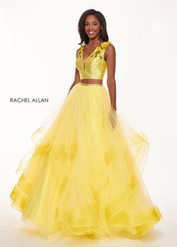 Style 6412 Rachel Allan Yellow Size 6 Ruffles Prom Ball gown on Queenly