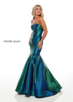 Style 7176 Rachel Allan Blue Size 4 Ombre Prom Mermaid Dress on Queenly