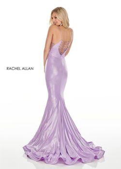 Style 7118 Rachel Allan Purple Size 2 V Neck Tall Height Train Spaghetti Strap Mermaid Dress on Queenly
