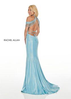 Style 7091 Rachel Allan Blue Size 6 Fringe Shiny Mermaid Tall Height Side slit Dress on Queenly