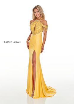 Style 7091 Rachel Allan Yellow Size 2 Prom Halter Side slit Dress on Queenly