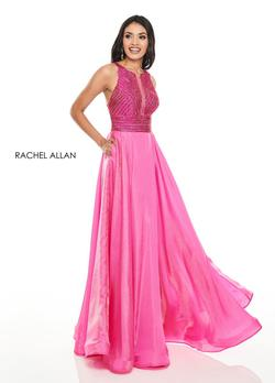 Style 7116 Rachel Allan Hot Pink Size 10 Cut Out Prom Ball gown on Queenly