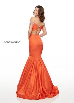 Style 7016 Rachel Allan Orange Size 2 Cap Sleeve Fitted Tall Height Mermaid Dress on Queenly