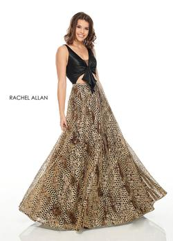 Style 7031 Rachel Allan Black Size 10 Cut Out Prom Gold Ball gown on Queenly