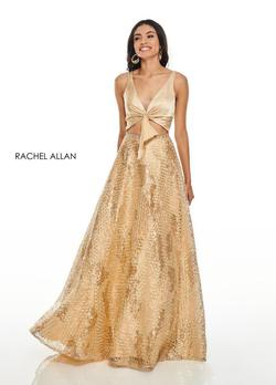 Style 7031 Rachel Allan Gold Size 6 Prom Plunge Ball gown on Queenly