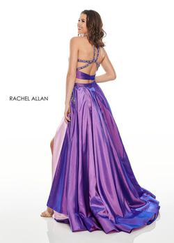 Style 7009 Rachel Allan Purple Size 10 Pink Shiny Tall Height Side slit Dress on Queenly